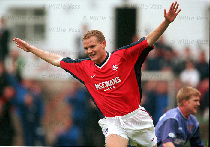 Jonatan Johansson celebrates scoring for Rangers at Dunfermline