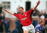 Jonatan Johansson celebrates scoring for Rangers at Dunfermline