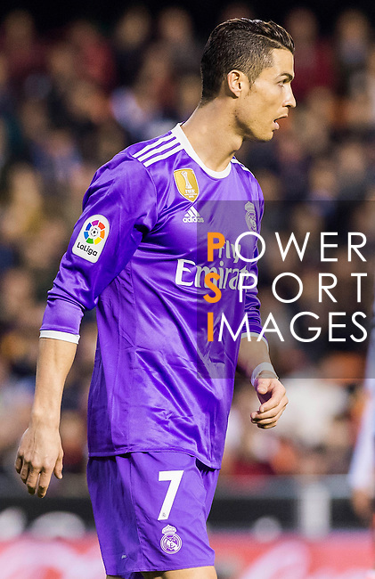Cristiano Ronaldo of Real Madrid looks on during their La Liga match between Valencia CF and Real Madrid at the Estadio de Mestalla on 22 February 2017 in Valencia, Spain. Photo by Maria Jose Segovia Carmona / Power Sport Images