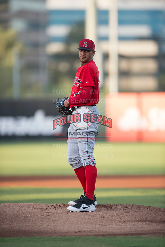 AZL Angels starting pitcher Jose M Rodriguez (36) prepares to deliver a pitch during an Arizona League game against the AZL Padres 2 at Tempe Diablo Stadium on July 18, 2018 in Tempe, Arizona. The AZL Padres 2 defeated the AZL Angels 8-1. (Zachary Lucy/Four Seam Images)