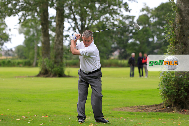 Patrick McGurnaghan (Fortwilliam) on the 8th tee during the Ulster Final between Fortwilliam and Warrenpoint in the AIG Jimmy Bruen Shield at Portadown Golf Club on Friday 14th August 2015.<br /> Picture:  Thos Caffrey / www.golffile.ie