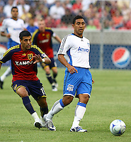 Javiar Morales, Arturo Alvarez in the San Jose Earthquakes @ Real Salt Lake 1-1 draw at Rio Tinto Stadium in Sandy, Utah on July 03, 2009