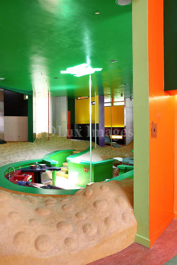 modern colorful house with bumpy concrete floor
