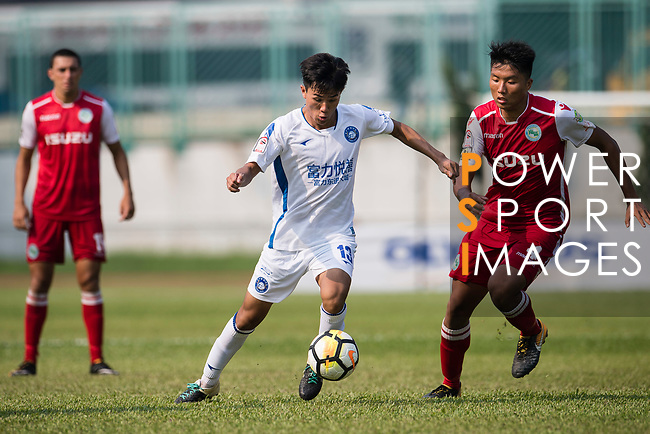 Chen Pujai R&F F.C (L) fights for the ball with Hok Ming Lau of Kwoon Chung Southern (R) during the week three Premier League match between Kwoon Chung Southern and R&F at Aberdeen Sports Ground on September 16, 2017 in Hong Kong, China. Photo by Marcio Rodrigo Machado / Power Sport Images