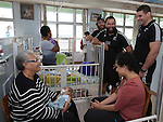 Heiden Bedwell-Curtis (L), Joe Royal, Ben May. Suva Children's Hospital. Suva, Fiji. July 10 2015. Photo: Marc Weakley