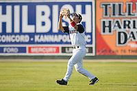 Right fielder Matt Inouye (20) of the Kannapolis Intimidators settles under a fly ball at Fieldcrest Cannon Stadium in Kannapolis, NC, Sunday May 25, 2008.