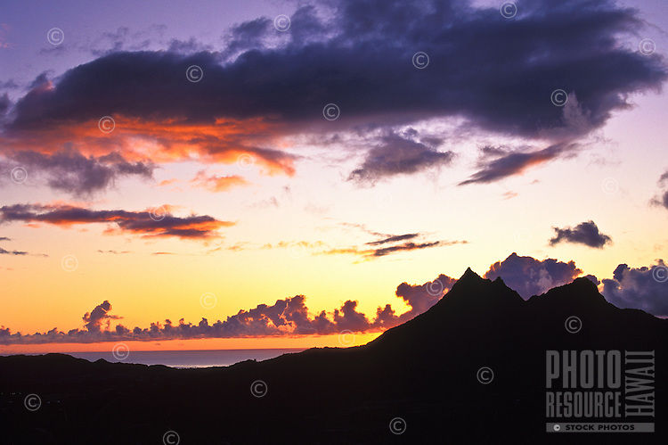 Dawn on the windward side of Oahu with Olomana mountain
