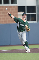 Michigan State Spartans third baseman Marty Bechina (2) makes a throw to first base against the Michigan Wolverines during the NCAA baseball game on April 18, 2017 at Ray Fisher Stadium in Ann Arbor, Michigan. Michigan defeated Michigan State 12-4. (Andrew Woolley/Four Seam Images)