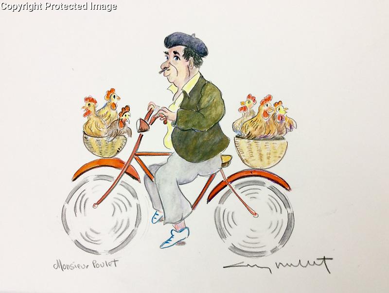 &quot;Monsieur Poulet&quot;<br /> ORIGINAL Watercolor on Paper<br /> 9&quot; x 12&quot;<br /> $1750.
