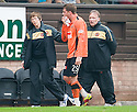 :: DUNDEE UTD'S DAVID GOODWILLIE GOES OFF FOR TREATMENT ON  MOUTH INJURY :: .23/04/2011   Copyright  Pic : James Stewart.sct_jsp021_dundee_utd_v_kilmarnock .James Stewart Photography 19 Carronlea Drive, Falkirk. FK2 8DN      Vat Reg No. 607 6932 25.Telephone      : +44 (0)1324 570291 .Mobile              : +44 (0)7721 416997.E-mail  :  jim@jspa.co.uk.If you require further information then contact Jim Stewart on any of the numbers above.........