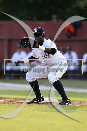 July 7th 2008:  First baseman Carlos Ramirez of the Oneonta Tigers, Class-A affiliate of Detroit Tigers, during a game at Damaschke Field in Oneonta, NY.  Photo by:  Mike Janes/Four Seam Images