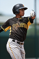 Pittsburgh Pirates Edison Lantigua (98) during a minor league spring training game against the Toronto Blue Jays on March 26, 2015 at Pirate City in Bradenton, Florida.  (Mike Janes/Four Seam Images)