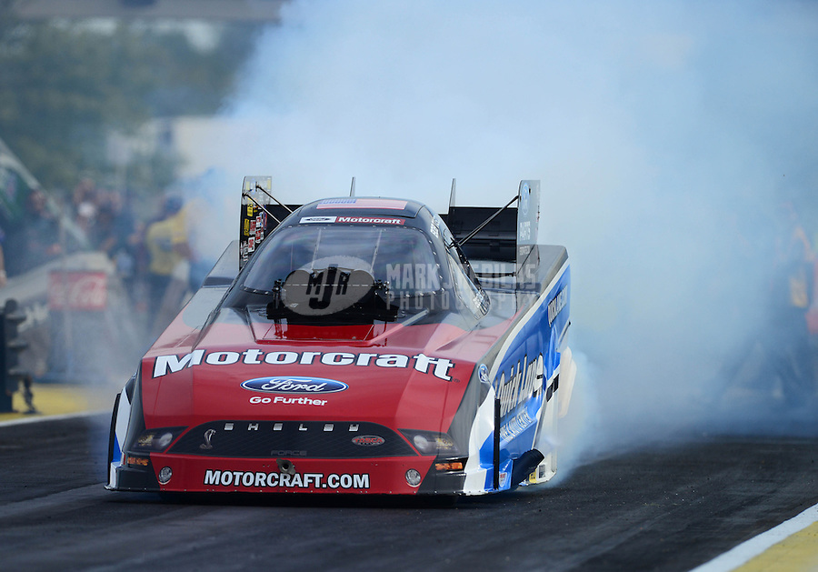 Sept. 28, 2012; Madison, IL, USA: NHRA funny car driver Bob Tasca III during qualifying for the Midwest Nationals at Gateway Motorsports Park. Mandatory Credit: Mark J. Rebilas-