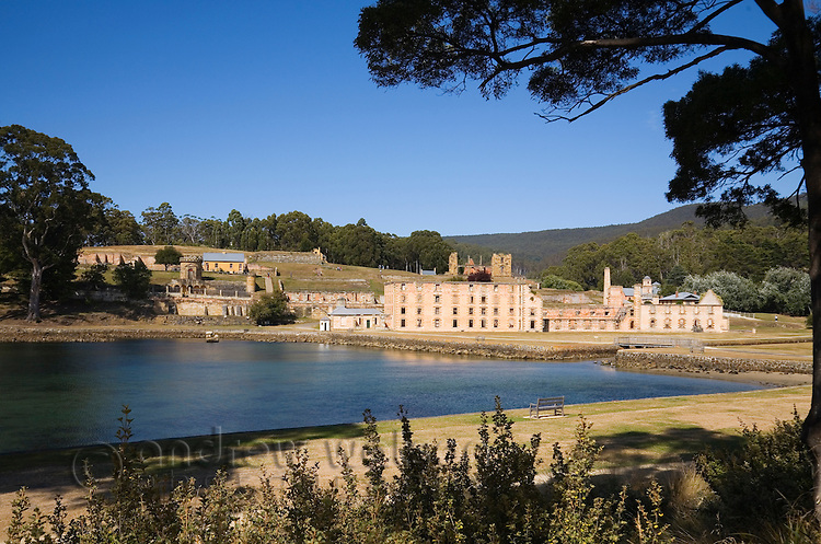 View across Mason Cove to the Penitentiary and ruins at the Port Arthur Historic Site.  The penal settlement was Tasmania's largest convict prison, in operation from 1830 to1877.  Port Arthur, Tasmania, Australia