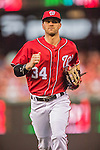 28 May 2016: Washington Nationals outfielder Bryce Harper trots back to the dugout during a game against the St. Louis Cardinals at Nationals Park in Washington, DC. The Cardinals defeated the Nationals 9-4 to take a 2-games to 1 lead in their 4-game series. Mandatory Credit: Ed Wolfstein Photo *** RAW (NEF) Image File Available ***
