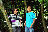 Pictured: Joe Allen and Jazz Richards<br /> Re: Swansea City Football Club away kits photo-shoot at Fendrod Lake, Enterprise Park, Swansea south Wales. Monday 07 June 2010