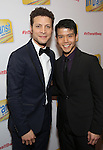 Justin Guarini and Telly Leung attends the Broadway Opening Night Performance Press Reception for  'In Transit' at Circle in the Square Theatre on December 11, 2016 in New York City.
