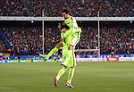 Barcelona's celebrates a goal during the Spanish Copa del Rey (King's Cup) quarter final second leg football match  Atletico de Madrid vs FC Barcelona at the Vicente Calderon stadium in Madrid on January 28, 2015. DP by Photocall3000.