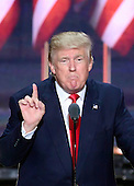 Donald J. Trump delivers his acceptance speech as the GOP candidate for President of the United States at the 2016 Republican National Convention held at the Quicken Loans Arena in Cleveland, Ohio on Thursday, July 21, 2016.<br /> Credit: Ron Sachs / CNP<br /> (RESTRICTION: NO New York or New Jersey Newspapers or newspapers within a 75 mile radius of New York City)