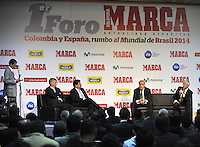 BOGOTA - COLOMBIA - 07 - 05 - 2013: Angel Maria Villar (Izq.), Presidente de la Federacion  Española de Futbol y Luis Bedoya (2Izq.), Presidente de la Federacion  Colombiana de Futbol, Vicente del Bosque  (2Der.), director tecnico de la Seleccion Española de Futbol y Jose Pekerman (Der.), Director Tecnico de la Selección  Colombiana de Futbol durante Foro en Bogota, mayo 7 de 2013.  El diario Marca Colombia, en su lanzamiento realizo el I FORO COLOMBIA Y ESPAÑA, RUMBO AL MUNDIAL BRASIL2014, (Foto. VizzorImage / Luis Ramirez / Staff). Angel Maria Villar (L), President of the Spanish Football Federation and Luis Bedoya (2L), President of Colombian Football Federation, Vicente del Bosque (L), head coach of the Spanish football and Jose Pekerman (R), head coach of the Colombian Soccer with t-shirts of the selections during Forum in Bogota, May 7, 2013. The newspaper Marca Colombia, at launch I performed the FORUM COLOMBIA AND SPAIN, WAY TO WORLD BRASIL 2014, (Photo. VizzorImage / Luis Ramirez / Staff). (Photo. VizzorImage / Luis Ramirez / Staff).