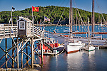 Schooner Margaret Todd and small boats docked in Bar Harbor, ME, USA