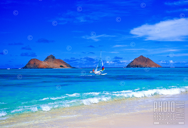 The beautiful Moku Lua Islands. Located near Lanikai Beach and Kailua Beach on Oahu's windward side.