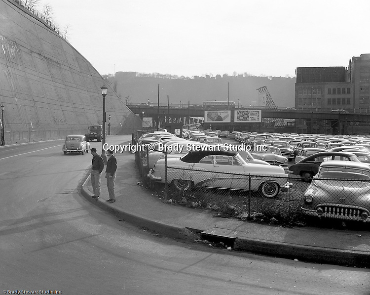 Pittsburgh PA:  View of the approach leading to the Liberty Bridge in Pittsburgh - 1953.  Assignment was done for Architect working for the Allegheny Conference.  City leaders were beginning to talk about improving access to the city from the south hills and east end.