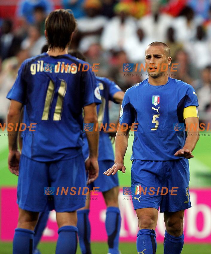 Hanover 12/6/2006 World Cup 2006.Italia Ghana 2-0.Photo Andrea Staccioli Insidefoto.FAbio Cannavaro e Alberto Gilardino Italy