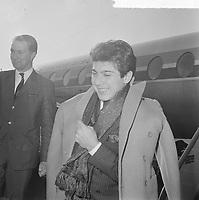 Canadian singer Paul Anka arrive at Schipol airport, Holland, Mach 17, 1964.<br /> <br /> <br /> ORIGINAL CAPTION : <br /> Beschrijving : Amerikaanse zanger Paul Anka op doorreis op Schiphol, Paul Anka (kop)<br /> Datum : 17 maart 1964<br /> Trefwoorden : KOPPEN, zangers<br /> Fotograaf : Pot, Harry / Anefo