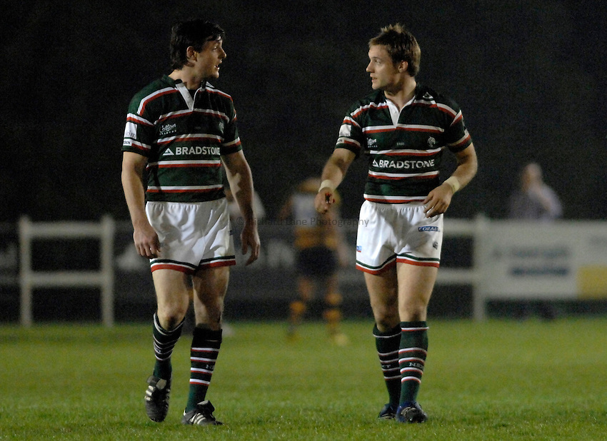 Photo: Richard Lane..London Wasps A v Leicester Tigers A. Guinness A League Final 1st leg. 16/04/2007. .Tigers' Matt Smith and Matt Cornwell (rt) discuss tactics.