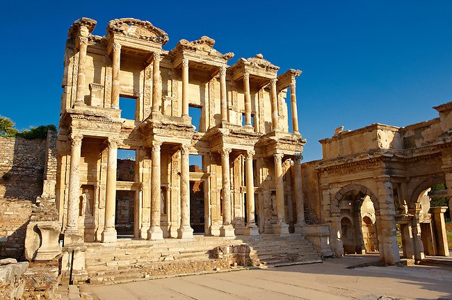 Photo of The library of Celsus. Images of the Roman ruins of Ephasus, Turkey. Stock Picture & Photo art prints 6