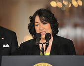 Washington, D.C. - May 26, 2009 -- Judge Sonia Sotomayor of the Federal Appeals Court makes remarks after United States President Barack Obama named her as his nominee for Justice of the U.S. Supreme Court in the East Room of the White House on Tuesday, May 26, 2009.  She will replace retiring Justice David Souter. Judge Sotomayor, 54, of The Bronx, New York, will be the first Hispanic to serve if her nomination is approved by the U.S. Senate.  Vice President Joseph Biden looks on from the left..Credit: Ron Sachs / Pool via CNP