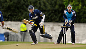 CB40 Cricket - Saltires V Durham at Grange CC Edinburgh - Dynamos batsman Kyle Coetzer (who also plays for Scotland when available) hits out on his way to 110 not out - Saltires keeper is Gregor Maiden and the bowler attempting to stop the ball is Calvin Burnett - Picture by Donald MacLeod - 16.05.11 - 07702 319 738 - www.donald-macleod.com - clanmacleod@btinternet.com