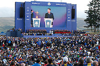 Tom Watson (Captain) on stage during the Awards ceremony of the Ryder Cup at Gleneagles Golf Club on Sunday 28th September 2014.<br /> Picture:  Thos Caffrey / www.golffile.ie