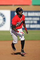 May 16, 2010: Denny Almonte of the High Desert Mavericks during game against the Stockton Ports at Mavericks Stadium in Adelanto,CA.  Photo by Larry Goren/Four Seam Images