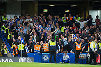 Huddersfield Town fans celebrate <br /> <br /> Photographer Craig Mercer/CameraSport<br /> <br /> The Premier League - Chelsea v Huddersfield Town - Wednesday 9th May 2018 - Stamford Bridge - London<br /> <br /> World Copyright &copy; 2018 CameraSport. All rights reserved. 43 Linden Ave. Countesthorpe. Leicester. England. LE8 5PG - Tel: +44 (0) 116 277 4147 - admin@camerasport.com - www.camerasport.com
