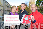 Killarney's Siobhan Lenihan with her mother Hannah and  John O'Connor who received an anonymous donation of EUR20,000 during their fundraising drive to provide defibrillators for the town.