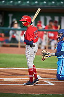 Jeremiah Jackson (23) of the Orem Owlz bats against the Ogden Raptors at Lindquist Field on June 20, 2019 in Ogden, Utah. The Owlz defeated the Raptors 11-8. (Stephen Smith/Four Seam Images)