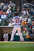 Rochester Red Wings Brian Schales (13) bats during an International League game against the Scranton/Wilkes-Barre RailRiders on June 25, 2019 at Frontier Field in Rochester, New York.  Rochester defeated Scranton 10-9.  (Mike Janes/Four Seam Images)