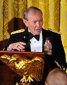 The Chairman of the Joint Chiefs of Staff Martin Dempsey makes remarks at a dinner hosted by United States President Barack Obama and first lady Michelle Obama to honor our Armed Forces who served in Operation Iraqi Freedom and Operation New Dawn and to honor their families in the East Room of the White House in Washington, D.C. on Wednesday, February 29, 2012..Credit: Ron Sachs / Pool via CNP