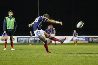 Peter Lydon of London Scottish kicks a conversion during the Greene King IPA Championship match between London Scottish Football Club and Nottingham Rugby at Richmond Athletic Ground, Richmond, United Kingdom on 16 October 2015. Photo by David Horn.