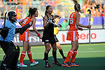 The Hague, Netherlands, June 05: Krystal Forgesson #3 of New Zealand gestures during the field hockey group match (Women - Group A) between New Zealand and The Netherlands on June 5, 2014 during the World Cup 2014 at Kyocera Stadium in The Hague, Netherlands. Final score 0-2 (0-2) (Photo by Dirk Markgraf / www.265-images.com) *** Local caption ***