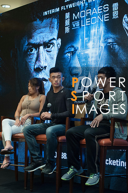 (l-r) Angela Lee, Christian Lee and Eddie Ng, fighters of One Championship - Heroes of the World during the press conference on 04 August 2016 held at Conrad Hotel, Hong Kong, China. Photo by Marcio Machado / Power Sport Images