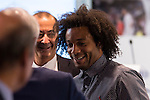 Marcelo during the tribute to Cristiano Ronaldo by Real Madrid CF on the occasion of his new record by being the top scorer in the club's history at Santiago Bernabeu Stadium in Madrid, October 02, 2015.<br /> (ALTERPHOTOS/BorjaB.Hojas)