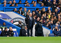 9th November 2019; Stamford Bridge, London, England; English Premier League Football, Chelsea versus Crystal Palace; Crystal Palace Manager Roy Hodgson looks on from the touchline  - Strictly Editorial Use Only. No use with unauthorized audio, video, data, fixture lists, club/league logos or 'live' services. Online in-match use limited to 120 images, no video emulation. No use in betting, games or single club/league/player publications
