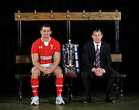London, England. Wales captain Sam Warburton and Rob Howley the Wales interim head coach pose with the Six Nations trophy during the RBS Six Nations launch at The Hurlingham Club on January 23, 2013 in London, England
