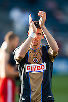 Sebastien Le Toux (11) of the Philadelphia Union salutes the fans after the match. Toronto FC and the Philadelphia Union played to a 1-1 tie during a Major League Soccer (MLS) match at PPL Park in Chester, PA, on April13, 2013.