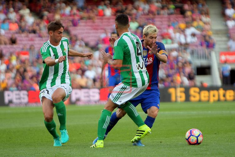 League Santander 2016/2017. Game: 1.<br /> FC Barcelona vs Real Betis: 6-2.<br /> Fabian, Lionel Messi &amp; Bruno.