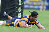 Theodore Solipo dives over between the post to score. Premier Counties Power Club Rugby Round 3, Counties Power Game of the Week, between Patumahoe and Bombay, played at Patumahoe on Saturday March 24th 2018. <br /> Photo by Richard Spranger.<br /> <br /> Patumahoe Counties Power Cup Holders won the game 26 - 23 after trailing 7 - 23 at halftime.<br /> Patumahoe 26 - Penalty try, Richard Taupaki, Theodore Solipo, Craig Jones tries; Riley Hohepa 2 conversions. <br /> Bombay 23 - Shaun Muir, Jordan Goldsmith, Liam Daniela, tries; Tim Cossens conversion; Tim Cossens 2 penalties.