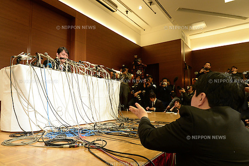 March 7, 2014, Tokyo, Japan - Mamoru Samuragochi holds a press conference in Tokyo on March 7, 2014. Samuragochi apologized over his ghost-writing scandal. (Photo by AFLO)
